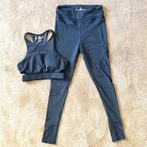 XS Charcoal gray workout sport bra pants outfit